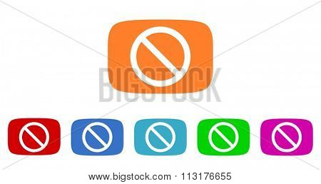 access denied flat design modern vector circle icons colorful set for web and mobile app isolated on white background