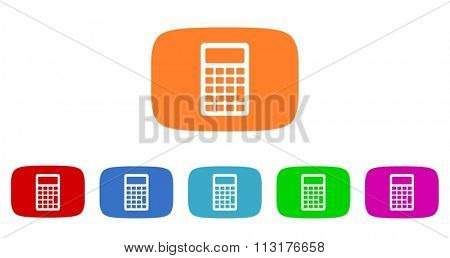calculator flat design modern vector circle icons colorful set for web and mobile app isolated on white background