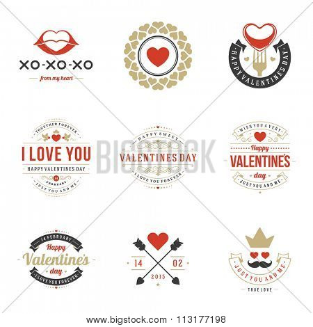 Valentine's Day labels, badges, heart icons, symbols, greetings cards, illustrations and typography vector design elements. Valentines day cards, Valentines Logos, Valentines Day Vector Labels.