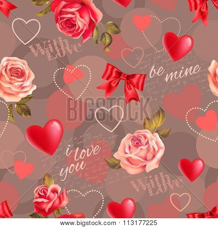 Seamless romantic pattern with roses, scripts and heart shapes. Vector illustration.