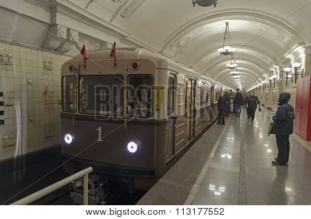 Retro Train In Moscow Subway.