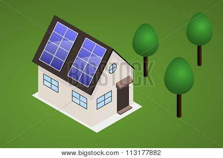 Isometric House On Lawn With Trees. House Has Solar Panels On The Roof.