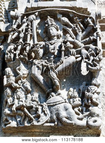 Statue of Lord Shiva at Chennakesava temple, Belur captured on December 30th, 2015