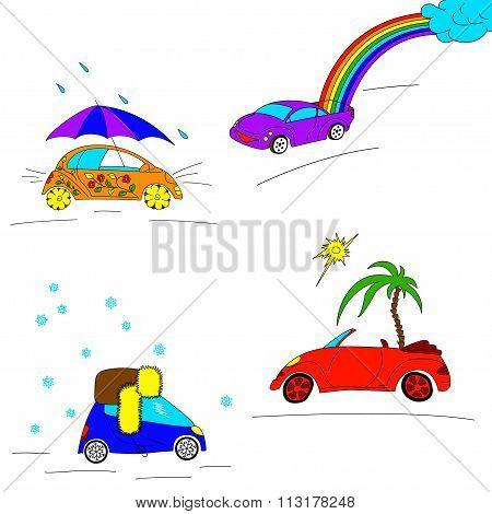 Set of seasonal cars