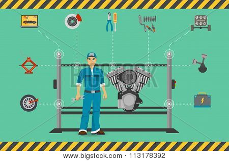 Car mechanic repair service center concept with tuning diagnostics flat elements and worker man.