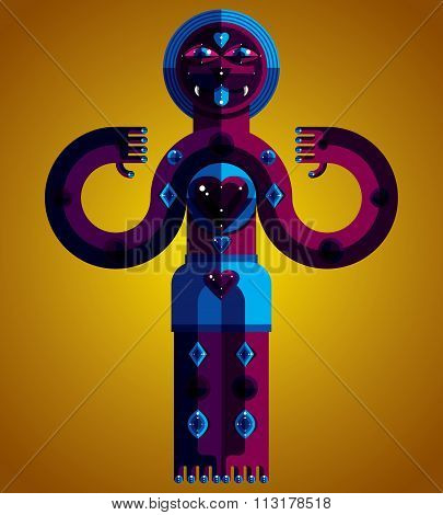 Vector Avant-garde Illustration Of Mythic Person, Pagan Symbol. Modernistic Graphic Picture, Anthrop