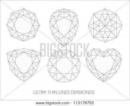 Elegant ultra thin line diamonds icons logo set. Vector illustration