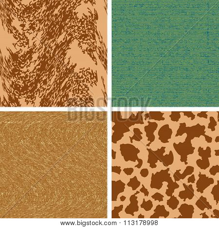 Set Four Color Of Seamless Patterns