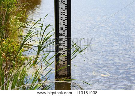 Water level measurement gauge used to monitor the water levels. Water level measurement gauge during flood.
