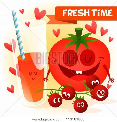 Illustration with funny characters. Love and hearts.  Funny food. time fresh. fresh tomato. Healthy