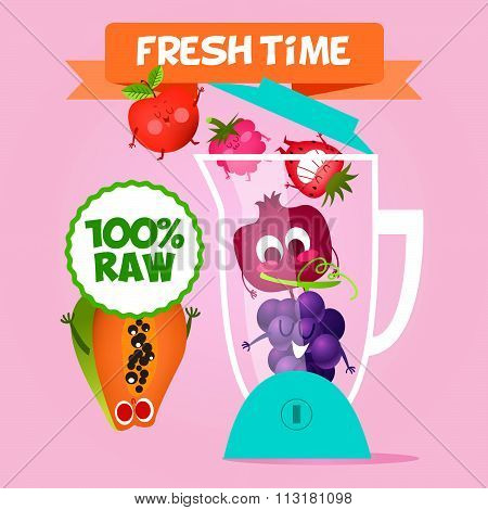 Illustration with funny characters.  Funny food. time fresh. Healthy foods.  100% Raw