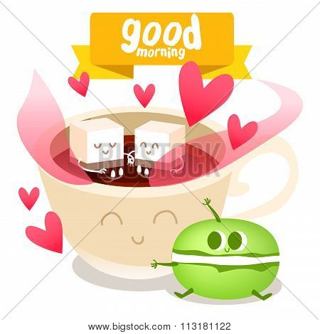 Postcard Valentine's Day with cute coffee cup and colorful macaroon on the  background.  Illustratio