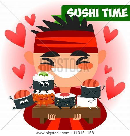 Chinese cook Chinese food. Delicious and healthy Chinese food. Cartoon style flat. Chinese tradition