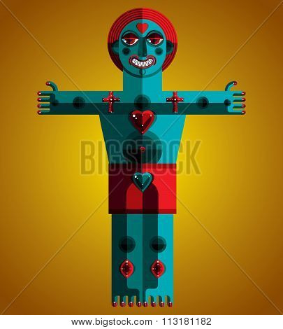 Vector Avant-garde Illustration Of Mythic Person, Pagan Symbol. Modernistic Graphic Art Drawing, Ant
