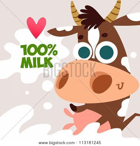 Cute cow cartoon with smile. Natural product. Cartoon animal. Cattle. The illustration on the theme