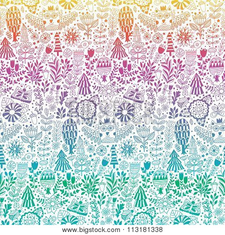 Vector forest design floral pattern illustration
