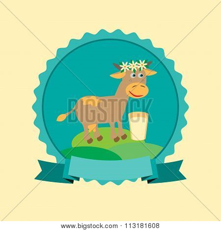 Organic milk label design with cute cow in milk. Vector illustration.