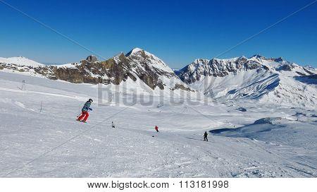 Ski Area Glacier De Diablerets, Swiss Alps