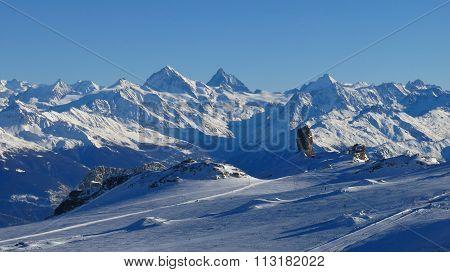 Glacier De Diablerets And High Mountains