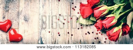 Bouquet Of Red Roses With Decorative Heart. St Valentine's Concept