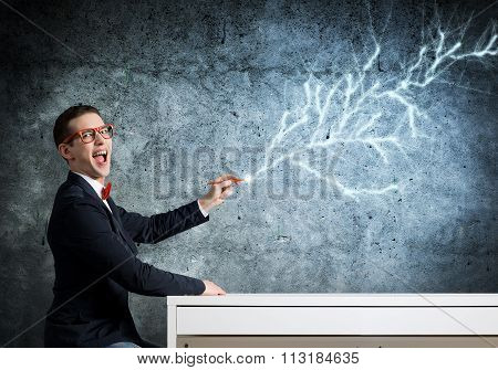 Smart guy draw on wall