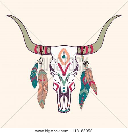 Vector Illustration Of Bull Skull With Feathers