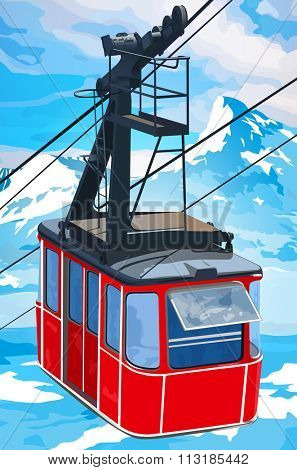 Red cableway in high mountains at winter season.