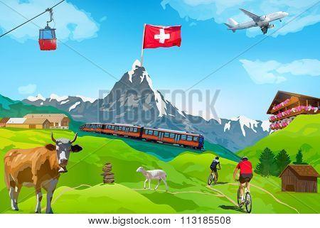 Alps Matterhorn mountain welcome card with landmarks