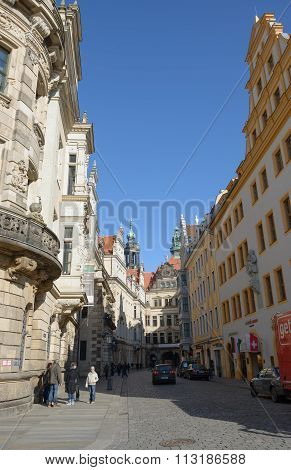Skyline Of Buildings On Schloss Street In Dresden, Saxony, Germany.