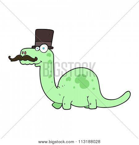 freehand drawn cartoon posh dinosaur
