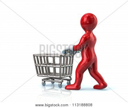 Red Man Pushing An Empty Shopping Cart