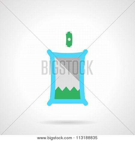 Flat color fundraising box vector icon