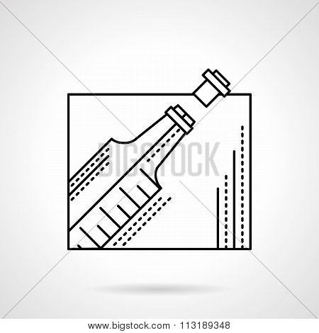 Champagne bottle black flat line vector icon