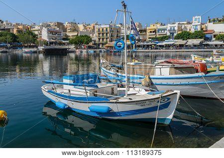 Greek fishing boat at Aghios Nikolaos port, Crete island, Greece