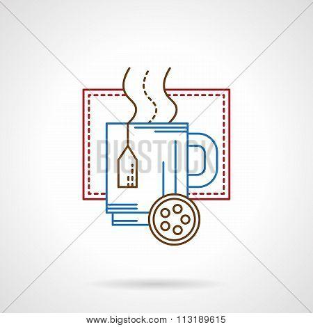 Hot tea mug thin color line vector icon