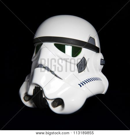 BLOOMFIELD NEW JERSEY  -  JAN 3 2016:  Studio image of an EFX Star Wars ANH Stormtrooper helmet, also known as a bucket.