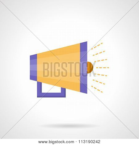 Yellow loudspeaker flat color vector icon
