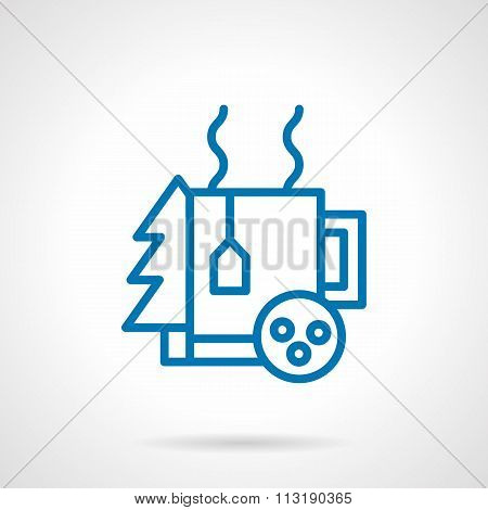 Simple blue line winter tea vector icon