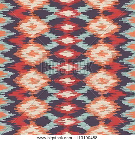 Vector colorful seamless ikat ethnic pattern. Zigzag background