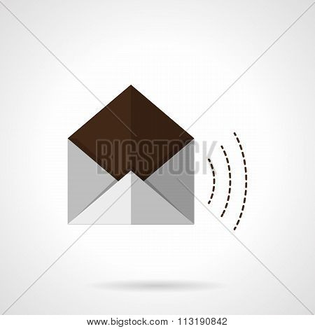 Open envelope flat color vector icon
