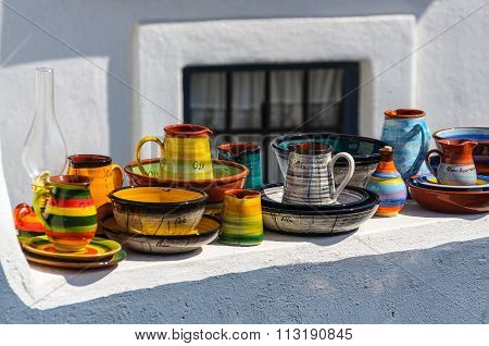 Traditional souvenirs of Oia town, Santorini island, Greece