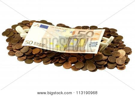 Euro bill with cent coins