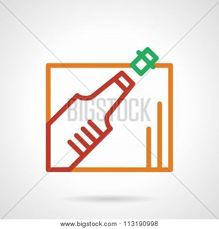 Color simple line champagne bottle vector icon