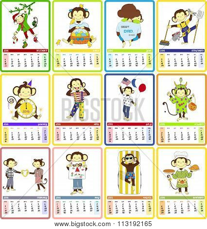 Holidays calendar for 2016  with cute monkey