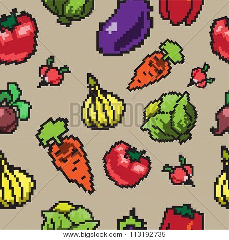 Seamless pixel pattern with vegetables
