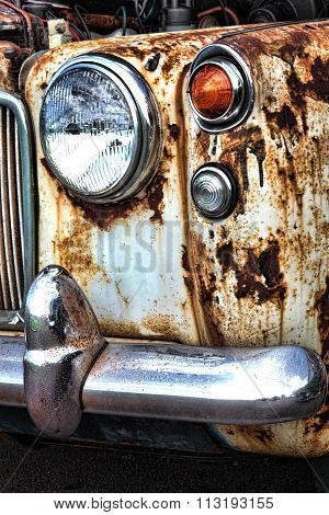 Old rusty vintage classic collectors car