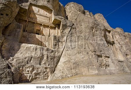 Historical Monuments Of Naqsh-e Rustam, Ancient Necropolis Near Persepolis, Iran.