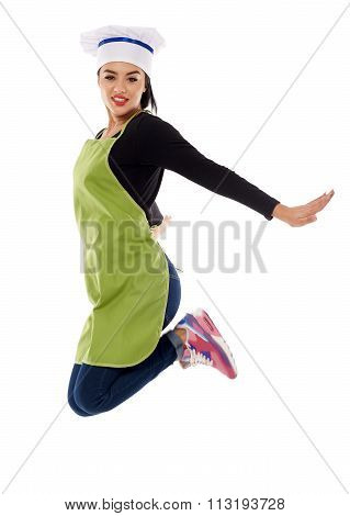 Woman Chef Jump For Joy