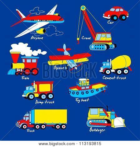 Transport Illustration Set On Blue Background