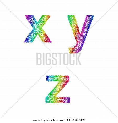 Rainbow sketch font set - lowercase letters x, y, z